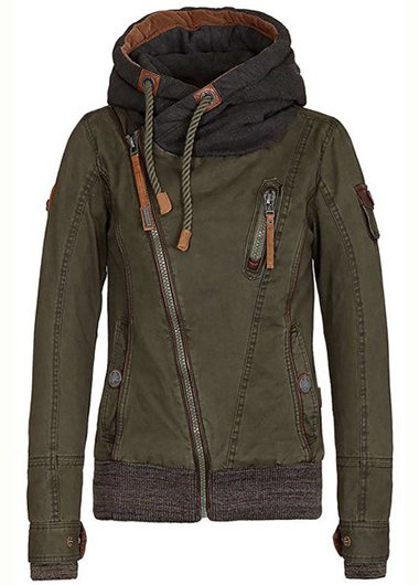 Hooded Diagonal Zipper Padded Jacket - fashionyanclothes
