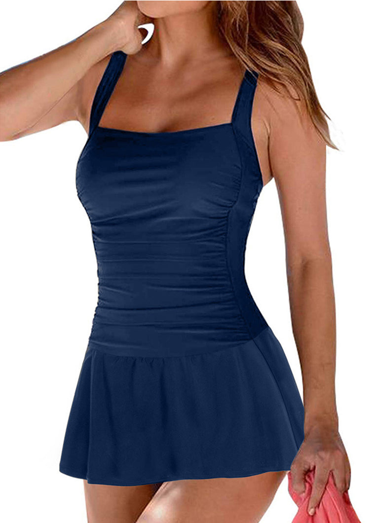 Solid Open Back Swimdress - fashionyanclothes
