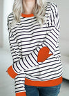 Stripe Heart-shaped Elbow Patch Sweatshirt