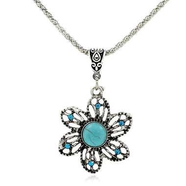 Rhinestone Decorated Flower Shape Necklace
