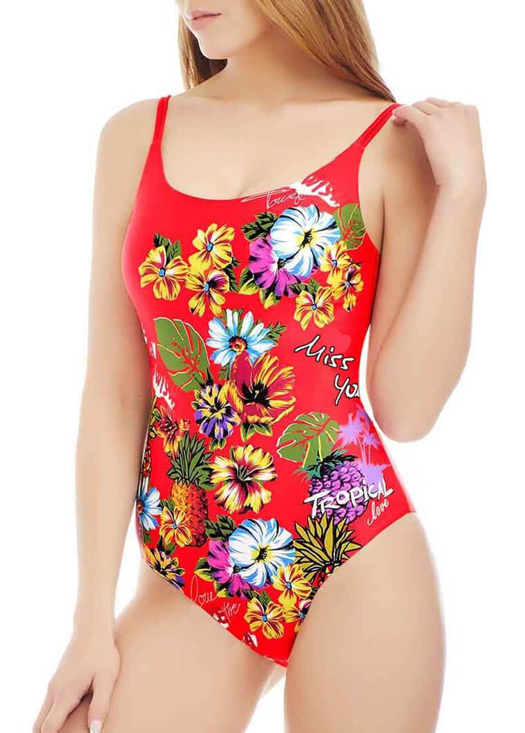 Letter and Flower Printed One Piece - fashionyanclothes
