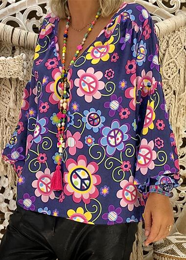 Loose V Neck Flower Print T-shirt - fashionyanclothes