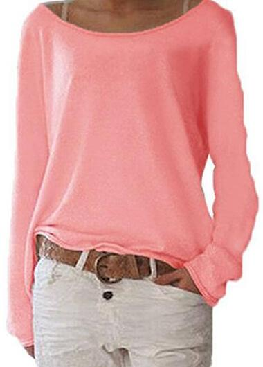 Solid Color Knitted Blouse