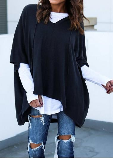 Looose Short Sleeve Black Hoodie - fashionyanclothes