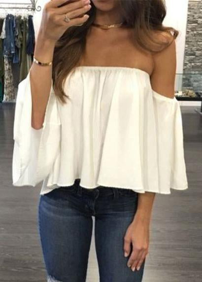 Lace Off-shoulder Casual Tops - fashionyanclothes