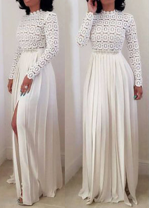 White Lace Splice Open Front Dress