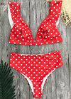 Push Up Ruffle Polka Dot Bikini - esshe