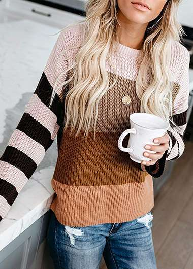 Color Block Long Sleeve Round Neck Sweater - fashionyanclothes