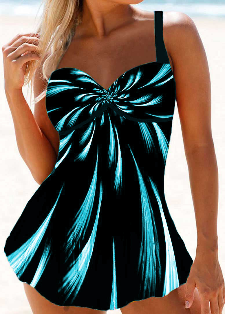 Psychedelic Print Padded Swimdress - fashionyanclothes