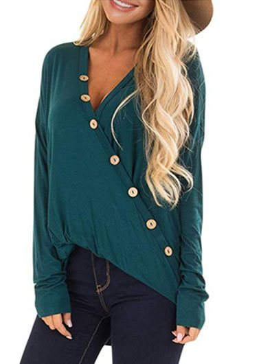 V Neck Button Up Loose Blouse