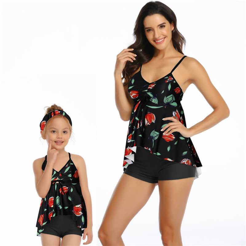 Family Green Printed Open Back Tankini - fashionyanclothes