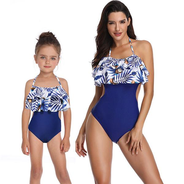 Family Ruffle Flower Printed One Piece Swimsuit