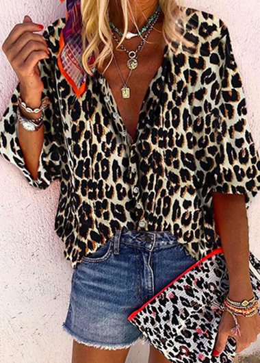 V-Neck Leopard Print Loose Blouse - fashionyanclothes