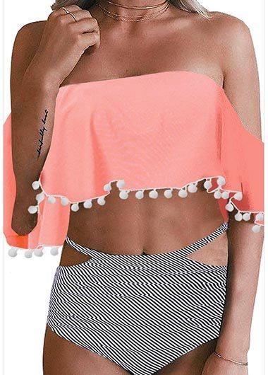 High Waisted Cold Shoulder Bikini Set