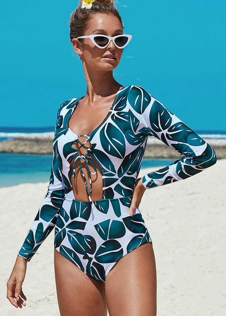 Printed Leaves Long Sleeve Swimwear - fashionyanclothes