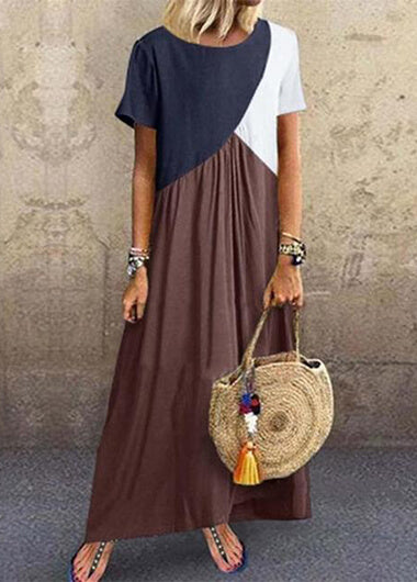 Round Neck Geometric Color Block MaxiDress - fashionyanclothes