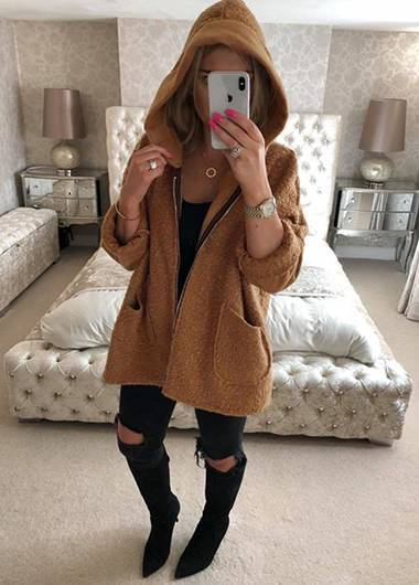 Zipper Up Hooded Collar Long Sleeve Coat