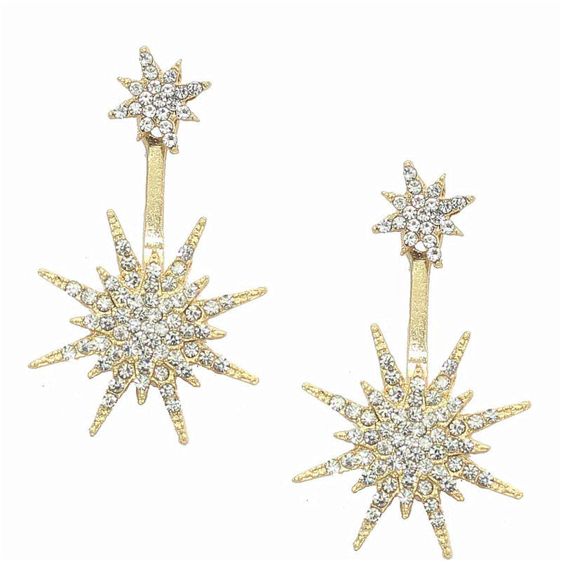 Woman Rhinestone Decorated Gold Metal Single Earring