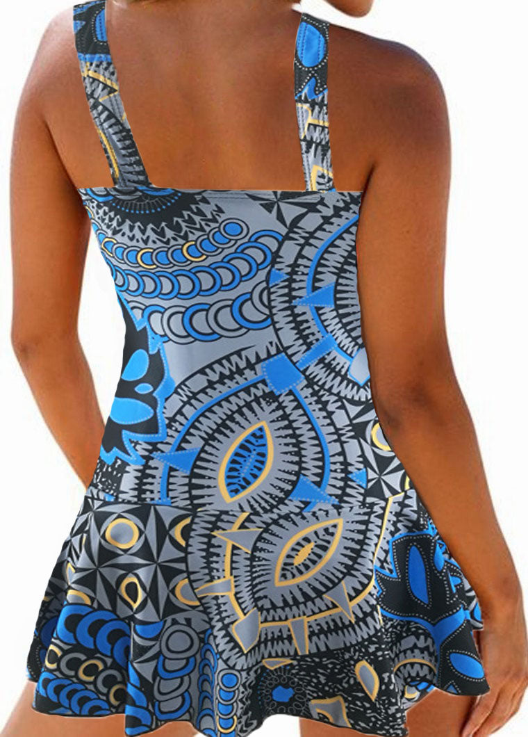 Printed Padded Ruched One Piece Swimdress - fashionyanclothes