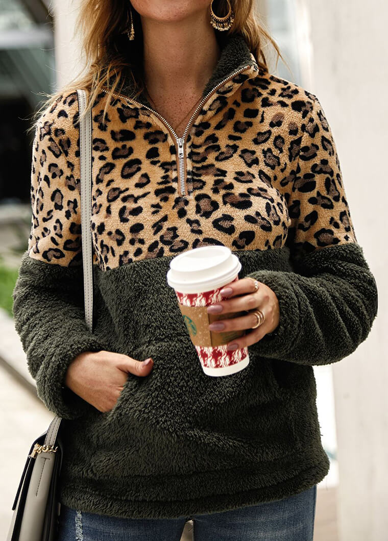 Leopard Long Sleeve Patchwork Coat - fashionyanclothes