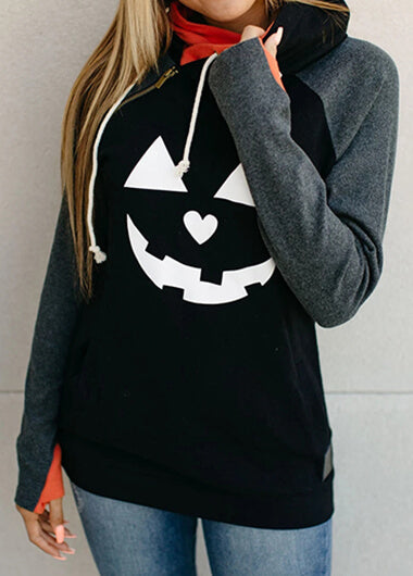 Halloween Pumpkin Print Long Sleeve Hoodie - fashionyanclothes