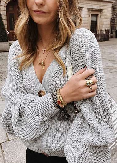 Soild Button Detail Loose Sweater - fashionyanclothes
