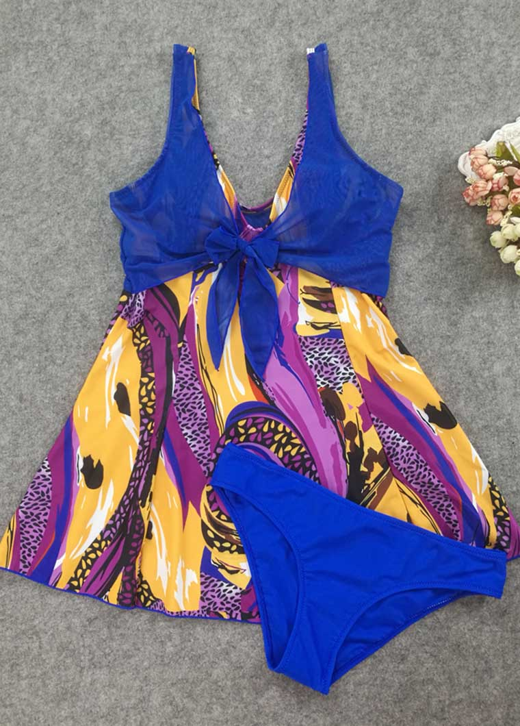 Bowknot Detail Patchwork Swimdress and Panty