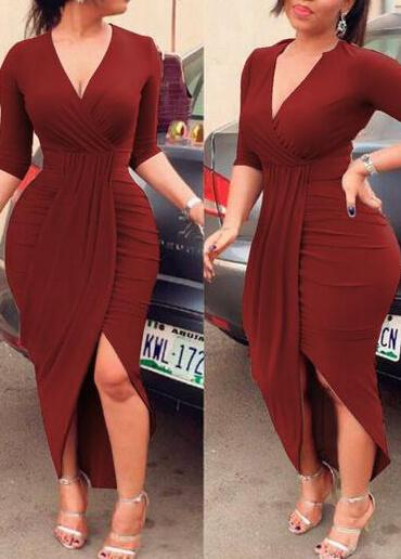 Casual Long V neck Pleating Body Dress - fashionyanclothes