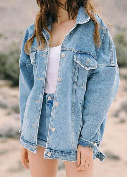 Long Sleeve Denim Jacket - fashionyanclothes