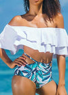 High Waist Off Shoulder Swimsuits - fashionyanclothes