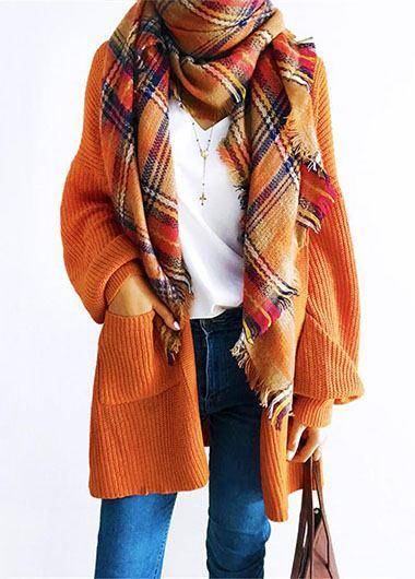 Esshe Casual Oversize Orange Cardigan - fashionyanclothes