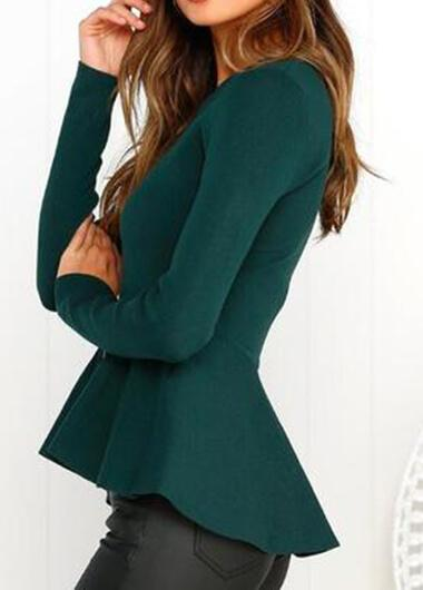 Round Collar Long Sleeve Zipper Short Jacket