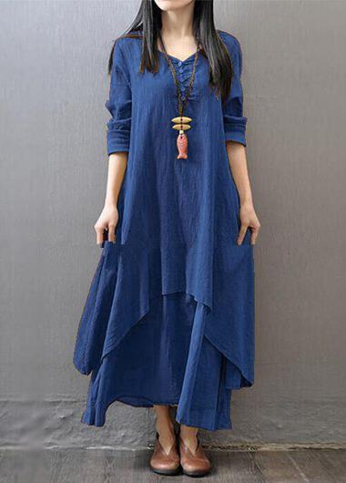 Cotton Long Sleeves Maxi Dress - fashionyanclothes