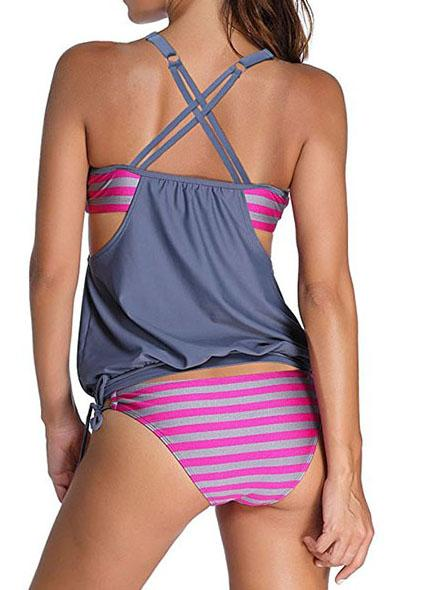 Sexy Stripes Lined Up Double Up Tankini - fashionyanclothes