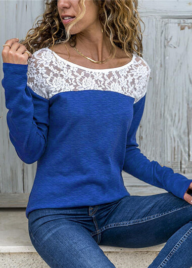 Lace Long Sleeve Patchwork Blouse - fashionyanclothes