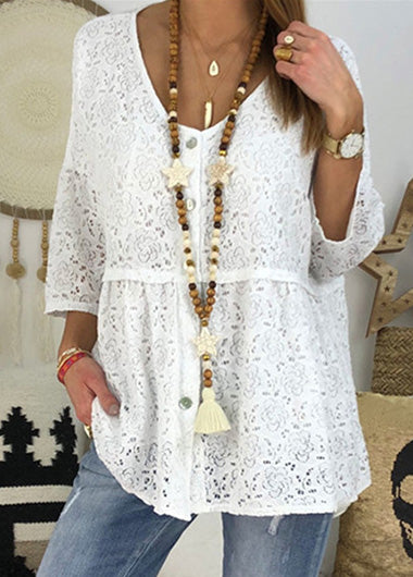 Loose Solid  Round Neck Lace Top