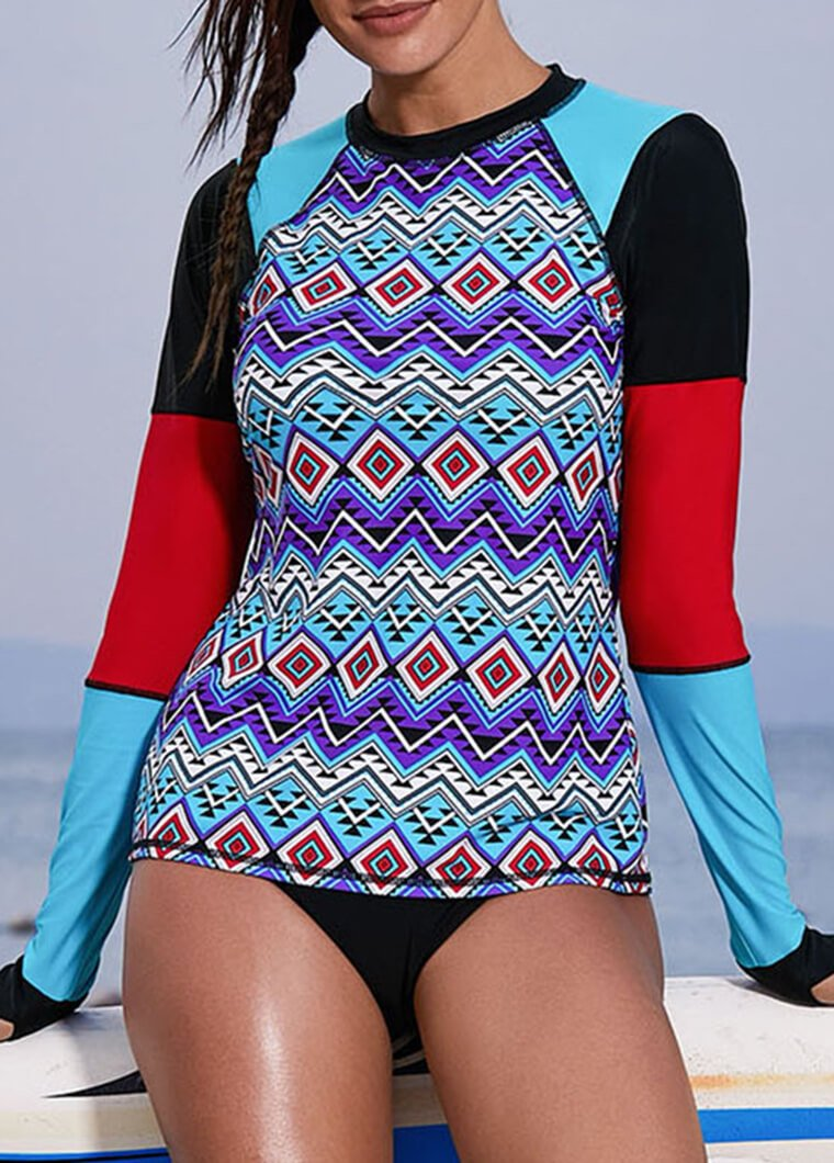 Geometrical Printed Patchwork Long Sleeve Wetsuit - fashionyanclothes