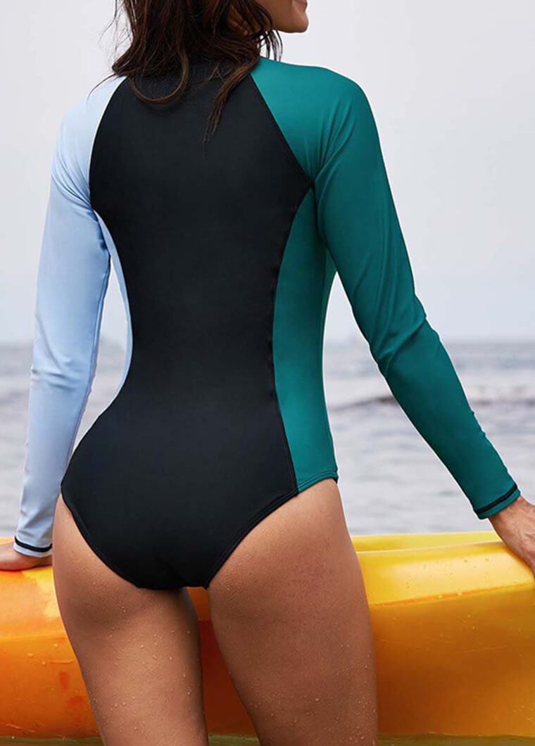 Long Sleeve Patchwork  Zipper Swimsuit - fashionyanclothes