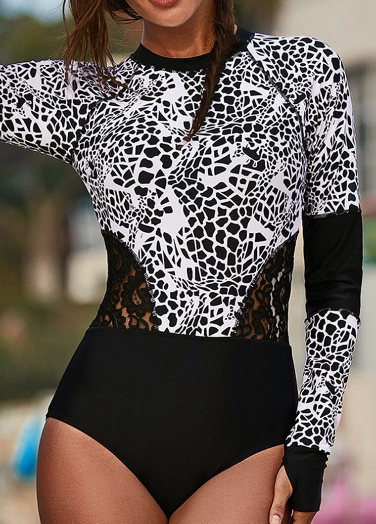 Printed Sexy Lace Hollow WetSuit - fashionyanclothes