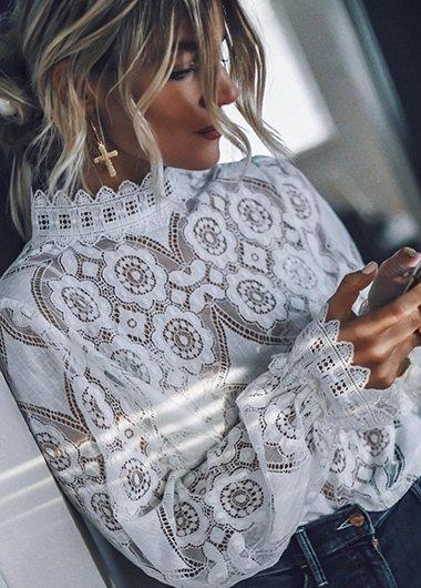 Hot Sale Lace Panel Blouse - fashionyanclothes