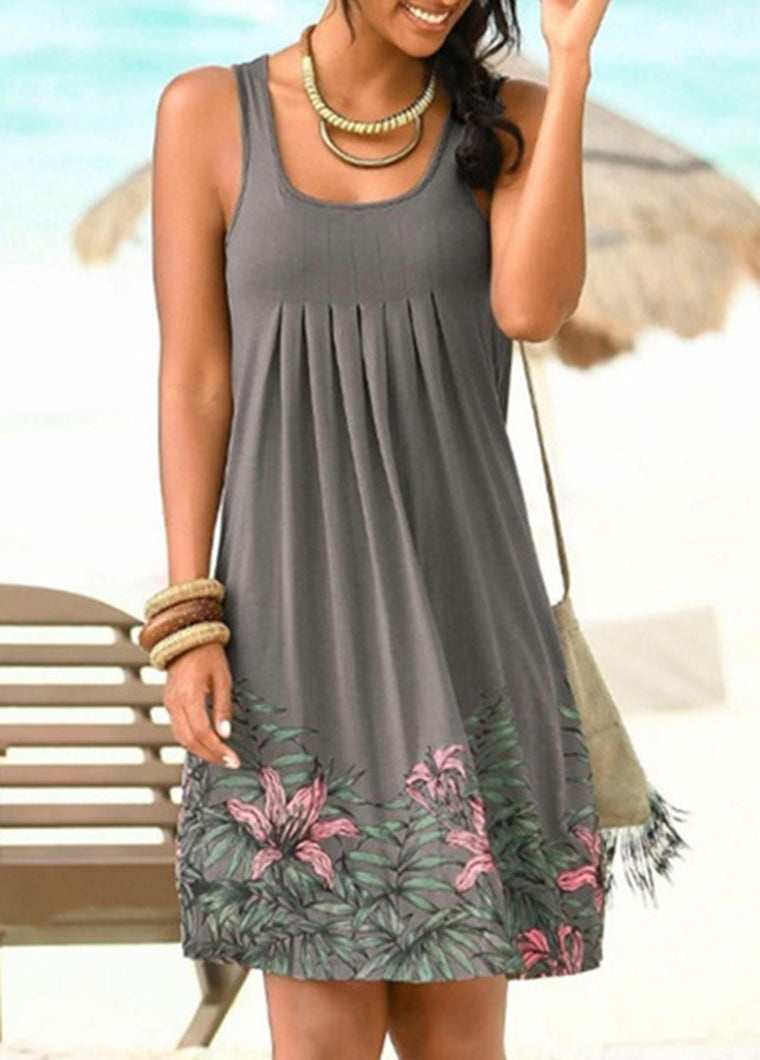 Plussize Printed Sleeveless Beach Dress - fashionyanclothes