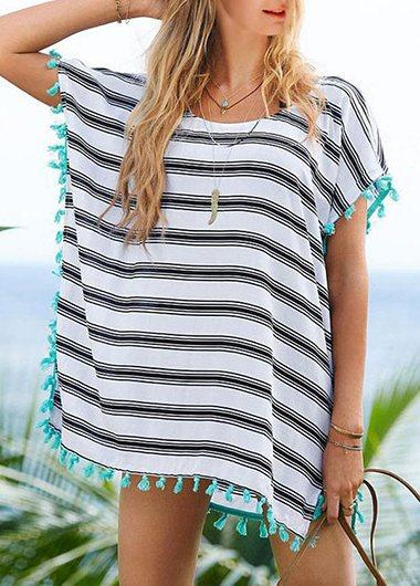 Womens Striped Chiffon Cover Up - fashionyanclothes
