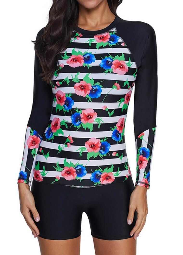 Flower Prited Two Pieces Wetsuit - fashionyanclothes