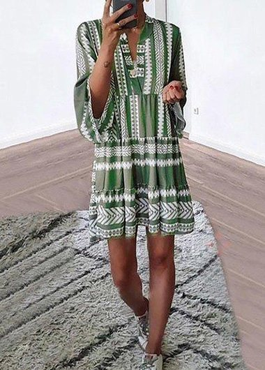 Stripe Print Split Neck Flare Sleeve Dress - fashionyanclothes