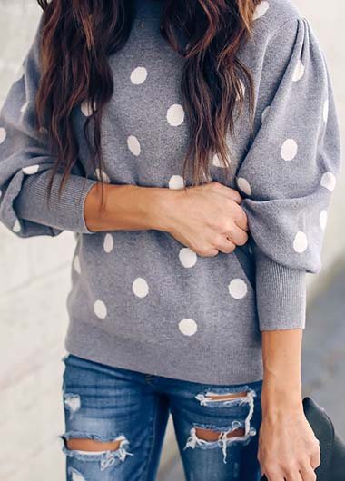 Psmpered Polaka Dot Balloon Sleeve Sweater