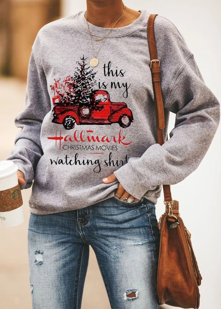 Christmas Print Round Neck Long Sleeve T Shirt
