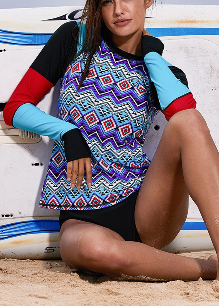 Geometrical Printed Patchwork Long Sleeve Wetsuit