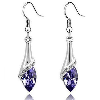 Rhinestone Decorated Silver Metal Earrings