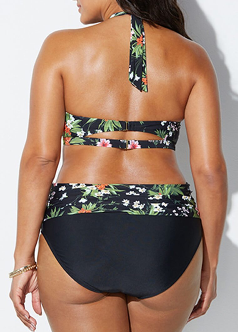 Plus Size Flower Printed Bikini - fashionyanclothes