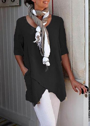 Plus Size Cotton Asymmetric Hem T Shirt